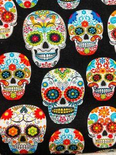 Per Metre Black 100/% Cotton Poplin Fabric with Sugar Skulls Mexican Halloween