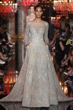 { ELIE SAAB } presented a floor-sweeping, crowd-pleasing autumn/winter 2014 collection at Paris Couture Fashion Week. Couture Dresses, Bridal Dresses, Prom Dresses, Club Dresses, Elie Saab Couture, Designer Gowns, Couture Fashion, Runway Fashion, Love Couture