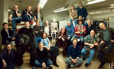 Famous group of students at the California Institute of the Arts in the that produced the renaissance of animation i. Toy Story, Beauty and the Beast, The Nightmare Before Christmas, Ratatouille, etc. photo by Annie Leibovitz Anne Leibovitz, History Of Animation, Brad Bird, Andrew Stanton, Animation Programs, Glen Keane, Viking Helmet, Group Pictures, Cool Animations