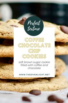 Coffee Chocolate Chip Cookies | Soft brown sugar cookie filled with espresso and dark chocolate flavor. Perfect texture and so yummy!