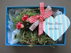 """""""Ohne Moos nix los"""" wer kennt das nicht, aber auf die Verpackung kommt es an! Da… """"No problem with moss"""" Who does not know that, but it depends on the packaging! The ideal gift for many occasions! Now also available as a Christmas box! Halloween Gifts, Valentine Gifts, Diy Gifts, Christmas Gifts, Christmas Ornaments, Presents For Boyfriend, Boyfriend Gifts, Diy Birthday, Birthday Gifts"""