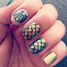 Mermaid nails love the scales and the shell