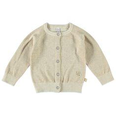 """Babyface gebreid vest voor meisjes in de kleur goud. Dit mooie Babyface vest, uit de winter collectie, is gemaakt van katoen met een lurexdraadje en draag je op een Babyface jeans of een leuk rokje! Verkrijgbaar in de maten 68 t/m 104 en sluit met een knoopsluiting. Links onder een geboruurde print met de tekst """"bfc"""".  Artikelnummer: 6208370 Seizoen: winter Materiaal: 83% katoen, 17% metaal"""