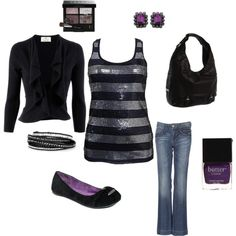 """Purple and black"" by stephcollins89 on Polyvore"