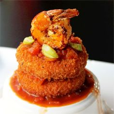 Shrimp and Grit Cakes with Creole Sauce recipe