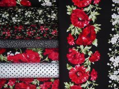 Audrey Poppies Quilt Kit-Timeless Treasures Floral Dots Vines Red Black WhiteNEW #TimelessTreasures
