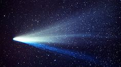 Comet West - This photograph of Comet West, one of the greatest comets of all-time, was taken by amateur astronomer John Laborde. The picture shows the two distinct tails. The thin blue ion tail is made up of gases, while the broad white tail is made up of tiny dust particles.