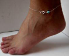 Sterling Silver Heart Anklet with Turquoise