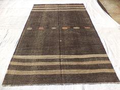"5,10""x9,3"" Feet 177x283 Cm Brown And Gray Goat Hair Woven Turkish Kilim Rug,Anatolian Nomadic Kilim Rug."