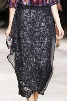 Embellishement  under Sheer Chiffon, Hidden Beauty under Sheer Skirt Trend for Spring Summer 2013.  Dries Van Noten Spring Summer 2013.    #fashion #trends