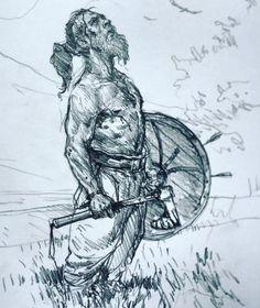 Art of Karl Kopinski - Viking sketch! Viking Drawings, Drawing Sketches, Art Drawings, Sketching, Vikings, Character Art, Character Design, Poses References, Viking Art