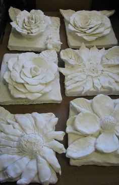 flower sculptures- i've made these before they always turn out well (it would be nice to do a tile board of these