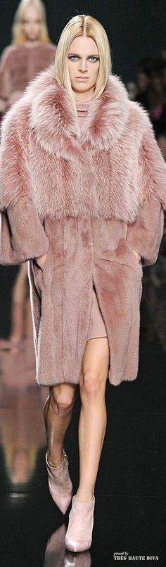 Elie Saab ~ Fall Blush Cashmere Full Length Top Coat w Fur Collar + Bodice  2014