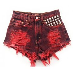 Discover this look wearing Red Studded Cut Off Omen Eye Shorts - Mira short studded cut off shorts by azuppas Edgy Outfits, Mode Outfits, Fashion Outfits, Studded Shorts, Studded Denim, Vintage Shorts, Vintage Denim, Hot Short Jeans, Short Shorts