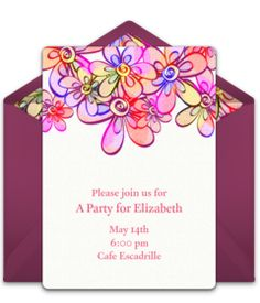 892def3e4ec8 Free cocktail party invitation with a bright flowers design. Love it for a  fun