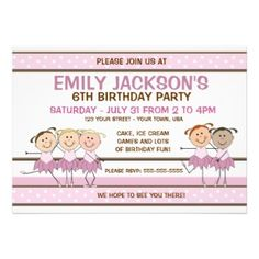 Make your daughters next birthday party a ballet themed event #ballerina #invitations #card #pink
