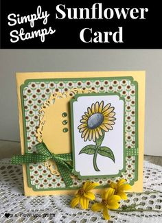 Make a Sunflower Card using a rubberstamp from Simply Stamps. Its an easy card that will only need a few supplies. - Crafts Diy Home Cricut Birthday Cards, Handmade Birthday Cards, Handmade Cards, Crafts For Teens, Fun Crafts, Paper Crafts, Sunflower Cards, Simply Stamps, Card Making Tutorials