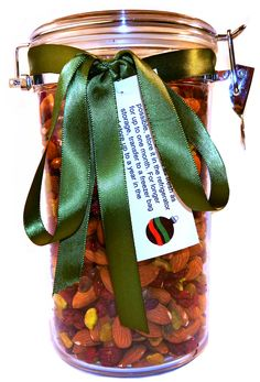 Homemade Trail Mix. Give a gift of your favorite trail mix. This mix has red & green holiday colors with dry roasted, unsalted pistachios & almonds plus dried cranberries in an amount to fill my container. As different nuts  maintain quality for various storage times, you might attach a label with this information: To keep this trail mix as fresh as possible, store it in the refrigerator for up to one month. For longer storage, transfer to a freezer bag and store up to a year in the freezer.