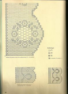 Filet crochet lace edging, flower wreath with points; loops & scallops ~ CHART