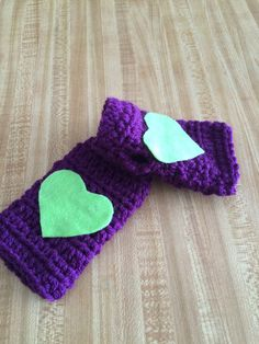 Girls Fingerless Gloves in Purple with Lime by AllThingsUniqueShop