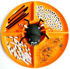 Add loose parts to black play dough and invited kids to create their own play dough spiders. Halloween Theme Preschool, Fall Preschool Activities, Playdough Activities, Halloween Activities, Halloween Themes, Fall Halloween, Halloween Crafts, Homemade Halloween, Halloween Spider