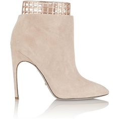 Sergio Rossi Laser-cut leather and suede ankle boots ($398) ❤ liked on Polyvore featuring shoes, boots, ankle booties, heels, ankle boots, nude, short boots, pointed toe ankle boots, leather booties and heeled booties