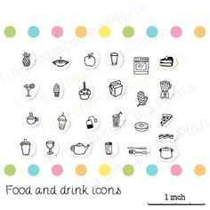 Planner stamps  Food and drink icons by TinyStampsBigPlans on Etsy