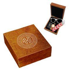 Alpha Chi Engraved Burlwood Accessory Box