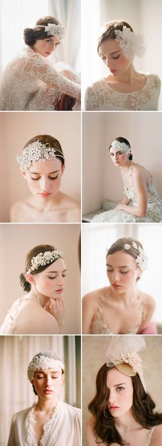 bridal hair accessories, headbands and veils by Twigs & Honey | junebugweddings.com
