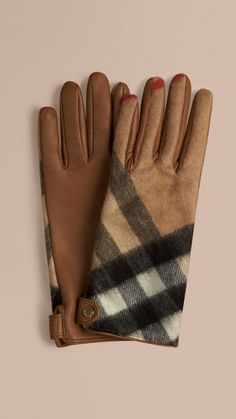 Camel check Leather and Check Cashmere Gloves 1