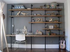 shop with industrial pipe and wood style furniture