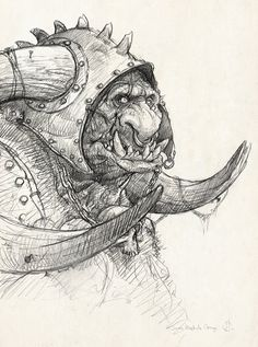 Orc sketch by Jean-Baptiste Monge ✤ || CHARACTER DESIGN REFERENCES | キャラクターデザイン | • Find more at https://www.facebook.com/CharacterDesignReferences & http://www.pinterest.com/characterdesigh and learn how to draw: concept art, bandes dessinées, dessin animé, çizgi film #animation #banda #desenhada #toons #manga #BD #historieta #strip #settei #fumetti #anime #cartoni #animati #comics #cartoon from the art of Disney, Pixar, Studio Ghibli and more || ✤