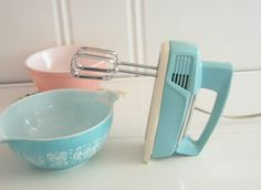 Vintage turquoise mixer.  Love this with the old turquoise and pink bowls.