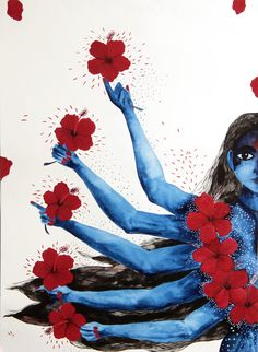 Goddess Kali by Kalyani Ganapathy Bangalore, India   Goddess Kali is a powerful image of a woman in protest. She encompasses empathy and anger in the same breath, love and protest in another. There is a Kali in every woman, she is never dormant, she exists, she is all powerful, we just never connect with that part of us. The theme being 'women in protest', we chose to draw The Goddess Kali in every woman.
