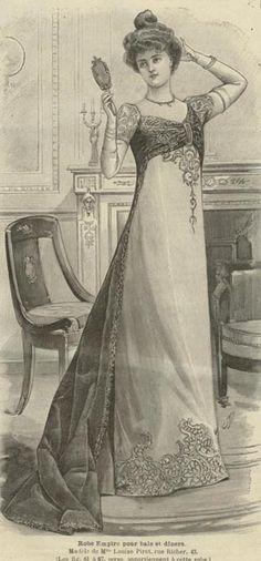 Mode ILLUSTREE Pattern Dec 30 1900 Empire Ball Gown