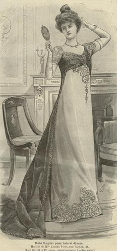 Mode ILLUSTREE Pattern Dec 30 1900 Empire Ball Gown