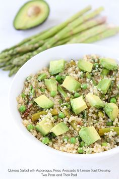 Quinoa Salad with Asparagus, Peas, Avocado & Lemon Basil Dressing on www.twopeasandtheirpod.com