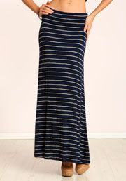 LOVE CULTURE - striped maxi skirt. Thinking ahead to summer, paired w chunky heel sandal, white tee, denim jacket and aviators.