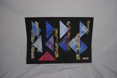 Richtungen Drucktechnik auf schwarzen Karton von KunstPunktKunst