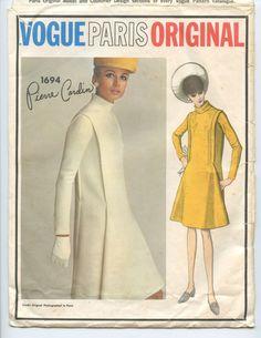 1960s Vogue Paris Original 1694 Pierre Cardin Misses Empire Waist Dress Cowl Neckline Low Draped Back Vintage Sewing Pattern Bust 32