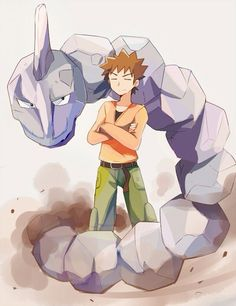 Pewter city gym leader Brock along with Onix