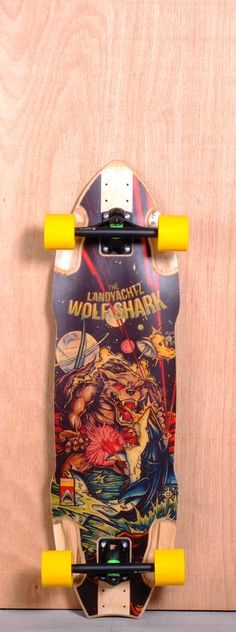 "The Landyachtz Wolf Shark Longboard Complete is designed for Sliding, Downhill and Freeride. Ships fully assembled and ready to skate! Function: Sliding, Downhill, Freeride Features: High W Concave, Rocker, Wheel Wells, Adjustable Wheelbase Material: 7 Ply Maple, Fiberglass Bottomsheet Length: 35.8"" Width: 10"" Wheelbase: 22.7"" - 27.7"" Thickness: 9/16"" Hole Pattern: Old School Grip: Black"