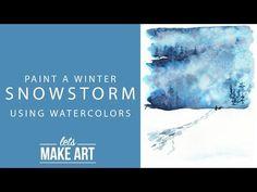 Winter Snowstorm Watercolor Tutorial (Let's Make Art) Watercolor Beginner, Watercolor Sunset, Watercolor Tips, Watercolour Tutorials, Watercolor Artists, Watercolor Techniques, Watercolor Landscape, Watercolor Paintings, Watercolor Cards