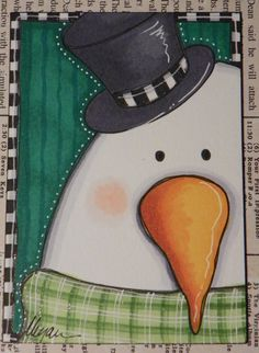 top hat snowman original ACEO by Megan by mycreativebliss on Etsy