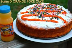 Delicious and Easy Orange Poke Cake. Perfect for the summer!   #WhereFunBegins #ad @SunnyDelight