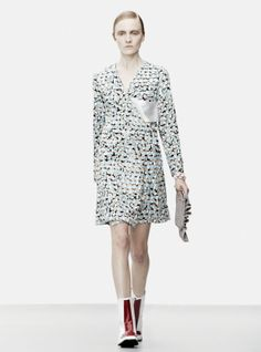 Young British Designers: Blue Paint Brush Buckle Wrap Dress by J.W.Anderson - Step out in this gorgeously texturised wrap dress. It's a riot of edgy femininity that is also ultra flattering and easy to wear. J.W.Anderson girls do pretty this season.