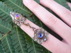 armor ring double chained ring bermuda blue nail ring claw ring knuckle ring vampire goth victorian goddess pagan boho gypsy
