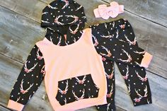 Floral Antler Hoodie Set: a darling outfit for your little girl this winter!  From $14.40 this week only!