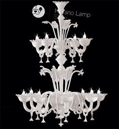 White like snow...double stage of lights!  #handmade #chandelier #murano #white