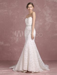 Mermaid Wedding Dress Ivory Backless Bridal Gown Sweetheart Strapless Lace Beading Flower Bridal Dress With Cathedral Train